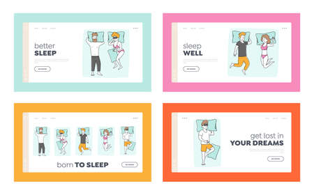 People Sleeping Poses Landing Page Template Set. Young Male and Female Character Sleeping on Bed. Men or Women Hug Blanket, Wear Pajama Sleep on Back with Hands under Head. Linear Vector Illustration