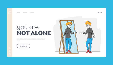 Disgust to Self Appearance, Depression, Mental Problem Landing Page Template. Female Character with Low Self-esteem Looking at Mirror See her Ugly Reflection with Old Face. Linear Vector Illustration