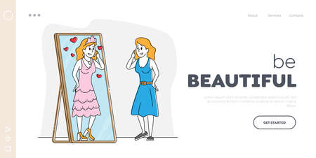 Female Character Admire with her Reflection Landing Page Template. Attractive Young Woman Look in Big Mirror Imagine herself Queen of Beauty in Crown and Beautiful Dress. Linear Vector Illustration 免版税图像 - 150829174