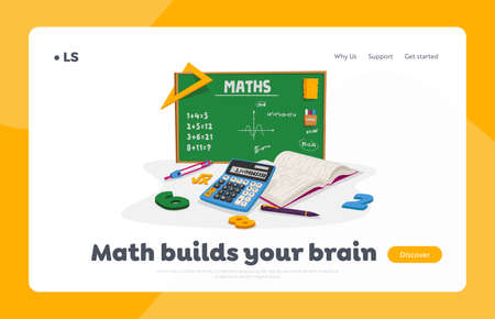 Mathematics Education and School Lesson Landing Page Template. Textbooks, Calculator, Pen and Compass with Digits around of Green Chalkboard with Tasks and Math Formulas. Cartoon Vector Illustration
