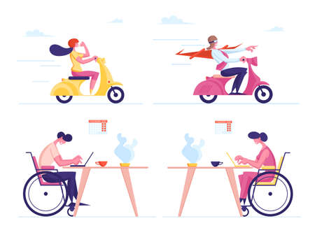 Set of Male and Female Business Characters Riding Scooter. Man in Super Hero Cloak Driving Moped. Handicapped People Working in Office. Disabled Employment, Leadership. Cartoon Vector Illustration