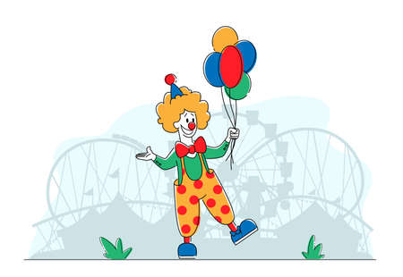 Clown Comedian in Amusement Park, Big Top Smiling Joker Character with Balloons. Jester Performer, Circus Show Entertainer in Funny Costume, Wig, Makeup and Red Fake Nose. Linear Vector Illustration