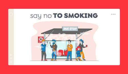 Smoking in Public Place, Bad Habit Landing Page Template. Male Characters Smoke near Prohibited Sign on Bus Stop with People around. Angry Woman with Child Admonish Smokers. Linear Vector Illustration
