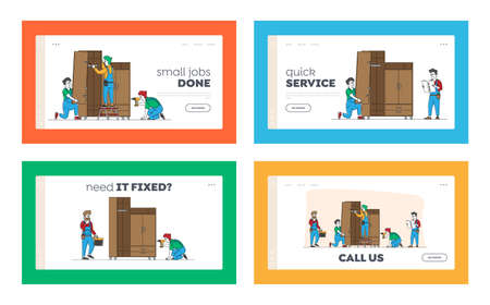 Furniture Assembling Landing Page Template Set. Workers Repair and Installation Works. Carpenter and Craftsman Characters Assembly Wardrobe with Shelves Using Tools. Linear People Vector Illustration Ilustración de vector