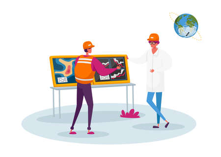 Character Report Meteorological Parameters at Screen with Meteorology Map Forecasting Weather. Meteorologist Presenting Monitor with Weather Information, Satellite. Cartoon People Vector Illustration 向量圖像