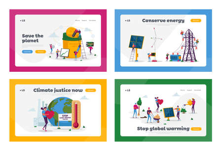 Save the Planet Landing Page Template Set. Tiny Male and Female Characters Use Green Energy, Sorting Garbage and Recycling E-waste for Environmental Protection. Cartoon People Vector Illustration Ilustracja