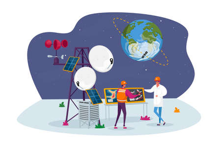 Meteorologist Characters on Meteo Station near Transmission Tower with Satellite on Earth Orbit. Meteorology Equipment, n Services and Technologies, Tech Progress. Cartoon People Vector Illustration Ilustración de vector