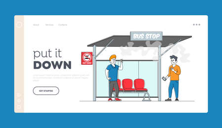 Character Passive Second Hand Smoking in Public Place, Bad Habit Landing Page Template. Man Suffer of Smoke at Prohibited Sign Man Smoker with Cigarette on Bus Stop. Linear People Vector Illustration
