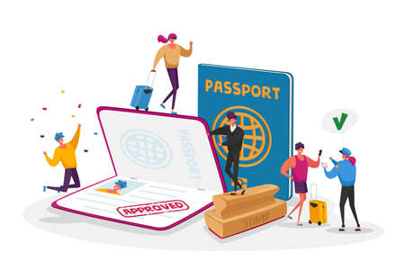 Characters Get Approved Visa. Travelers and Tourists Making Document for Leaving Country and Travel Abroad. Foreign and Native Passport, Traveling Immigration Stamp. Cartoon People Vector Illustration