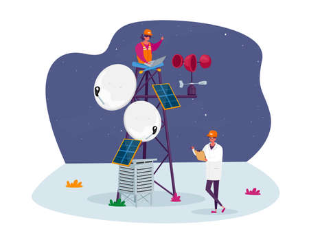 Characters in Worker and White Robe and Hardhat Learning Meteorological Indicators at Meteo Station. Meteorology Science, Modern Technologies for Weather Forecast. Cartoon People Vector Illustration Ilustración de vector