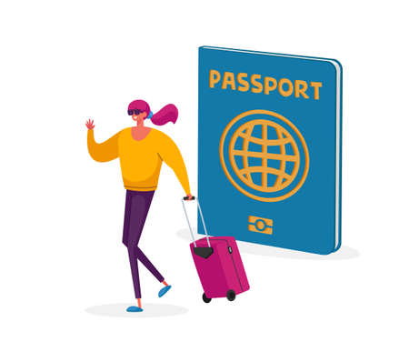 Visa Approval Concept. Tiny Tourist Woman Character with Suit Case at Huge Passport Traveling Abroad