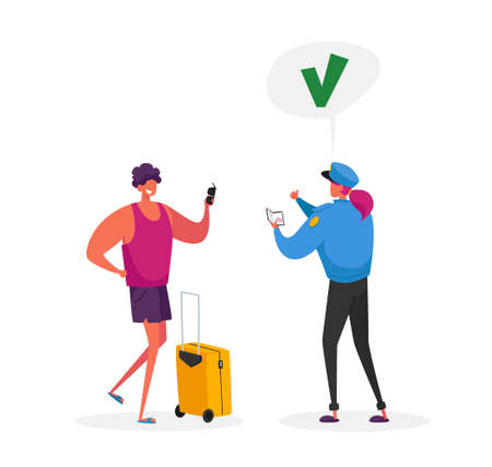 Visa Approval and Traveling. Passport Control Worker Character in Uniform Giving Huge Green Check Mark Illustration