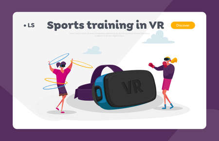 Virtual Reality Recreation Landing Page Template. Women Characters in Vr Goggles Boxing and Exercising with Hoops