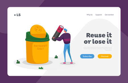 Waste Electrical and Electronic Equipment Landing Page Template. Tiny Man Character Throw Out Huge Battery Illustration