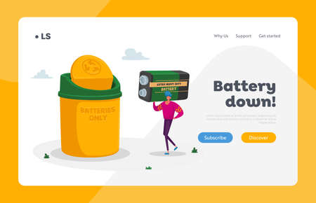 E-waste Batteries Recycling, Nature Protection Landing Page Template. Tiny Male Character Carry Huge Acid Vektorgrafik