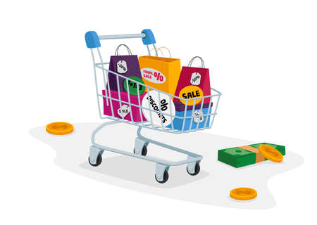 Total Sale Concept. Customer Trolley Full of Colorful Shopping Bags, Money Bills and Coins around Vetores
