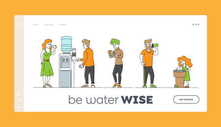 Thirsty People Drink Fresh Water Landing Page Template. Characters Adults and Child Drinking Cold Aqua
