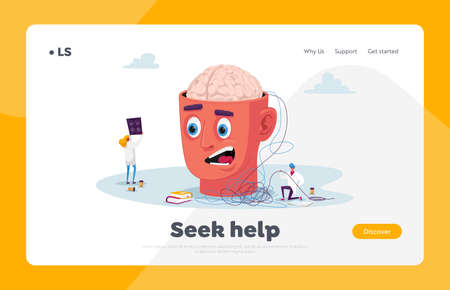 Psychotherapist Session in Mental Health Clinic Landing Page Template. Tiny Psychiatrist Doctor Characters