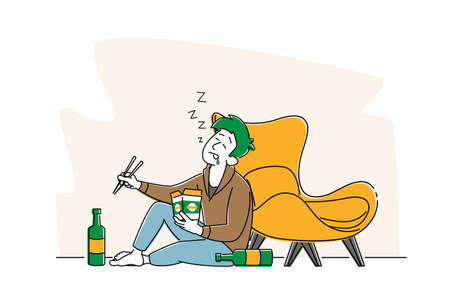 Drunk Male Character with Wok Box in Hand Sleeping on Floor with Alcohol Bottles, Man Alcoholic, Alcoholism Addiction
