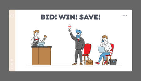 Online Auction Landing Page Template. Auctioneer Holding Gavel on Tribune, Characters Bidding. Selling and Buying Assets