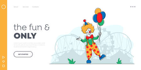 Clown in Amusement ParkLanding Page Template. Big Top Joker Character with Balloons. Jester Performer Circus Entertainer Ilustração