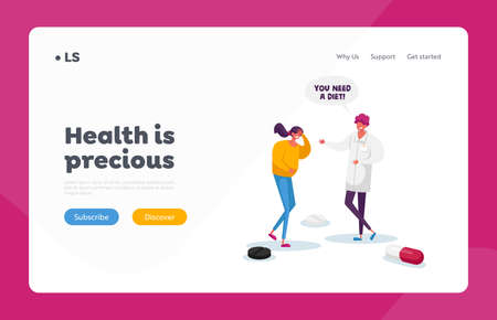 Stomachache, Gastroenterology Landing Page Template. Female Patient Character Touching Sick Belly Suffer of Stomach Ache