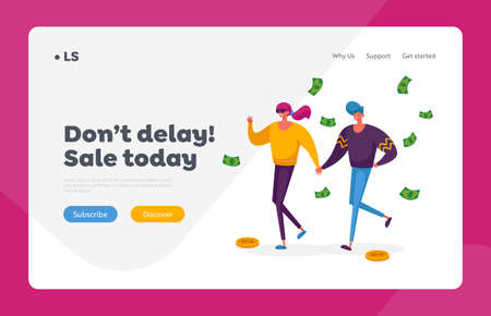 Shopping. Seasonal Sale Landing Page Template. Shopaholic Couple Characters with Money Bills Purchasing and Buy Gifts