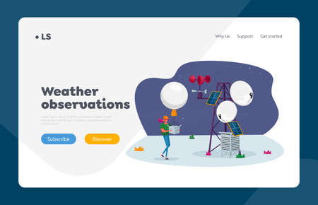Weather Radiosonde Landing Page Template. Female Character with Meteorology Probe Air Balloon on Meteo Station Probing