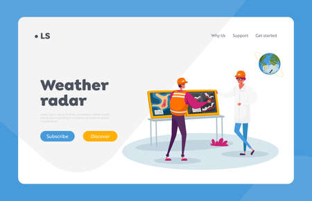 Meteorologist Presenting Weather Information Landing Page Template. Character Report Meteorological Parameters at Screen Illusztráció