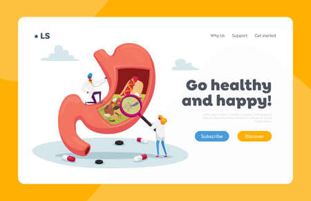 Gastritis and Helicobacter Disease Landing Page Template. Gastroenterology Doctor Characters Study Huge Diseased Stomach Illusztráció