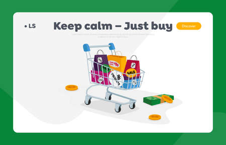 Total Sale Landing Page Template. Trolley Full of Shopping Bags, Money Bills and Coins. Special Offer Promotion Discount Illusztráció