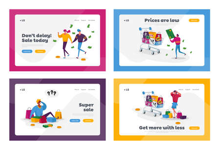 Buyers Characters at Seasonal Sale or Discount Landing Page Template Set. Tiny Shopaholic People, Huge Shopping Trolley