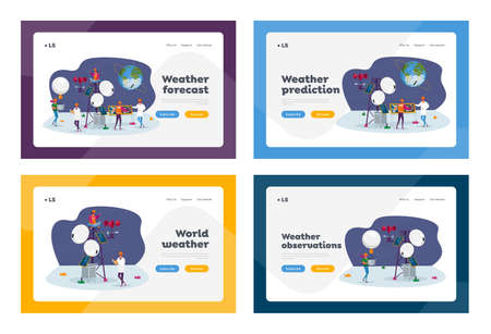 People on Meteorological Station Landing Page Template Set. Tiny Characters at Weather Tower, Satellite at Earth Orbit.
