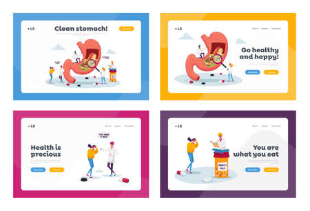 Gastroenterology Appointment Landing Page Template Set. Patient Character Suffer of Stomachache and Helicobacter Disease Illusztráció