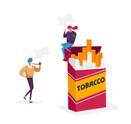 Characters Smoking Addiction, Bad Unhealthy Habit Concept. Girl Smoke Sit on Huge Cigarette Box. Addicted Man with Pipe