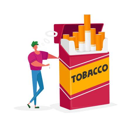 Unhealthy Habit, Smoking Nicotine Tobacco Addiction Concept. Tiny Male Character Stand Huge Cigarette Box and Smoke