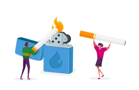 Tiny Characters Woman and Man Light Cigarette from Huge Burning Lighter, Pleasure from Smoking Addiction, Health Problem