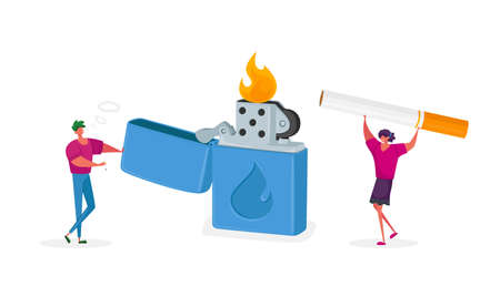 Tiny Characters Get Pleasure from Smoking Addiction. Woman Man Light Cigarette from Huge Burning Lighter, Health Problem