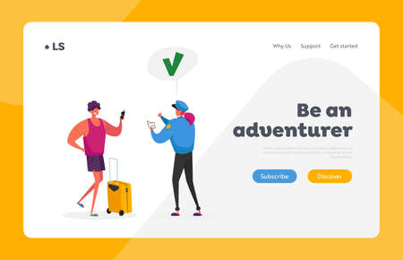 Visa Approval Landing Page Template. Passport Control Worker Character in Uniform Giving Green Check Mark to Tourist