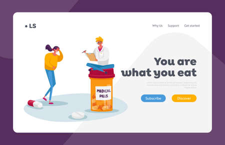 Health and Healthcare Landing Page Template. Tiny Doctor Character Sit on Huge Medicine Bottle Writing Recipe to Patient