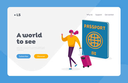 Visa Approval Landing Page Template. Tiny Tourist Woman Character with Suit Case at Huge Passport Traveling Abroad, Trip Illusztráció