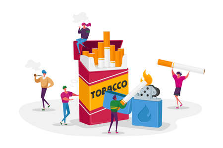 Smokers and Smoking Addiction Concept. Young Tiny People Smoke near Huge Cigarettes Box and Lighter in Public Place