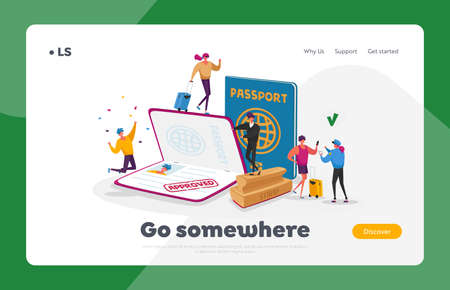 Characters Get Approved Visa Landing Page Template. Tourists Making Document for Leaving Country and Travel Abroad Illusztráció