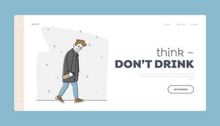 Depression, Alcoholism Landing Page Template. Sad Male Character with Alcohol Bottle Wrapped in Paper Walking under Rain Illusztráció