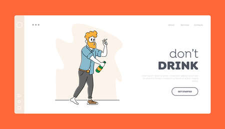 Alcoholism Landing Page Template. Drunk Sleazy Man in One Shoe and Sloppy Clothes Alcohol and Smoking Addiction, Abuse