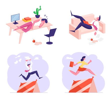 Set of Business Characters Procrastination, Working Burnout and Race with Obstacles. Tired People Sleeping at Workplace