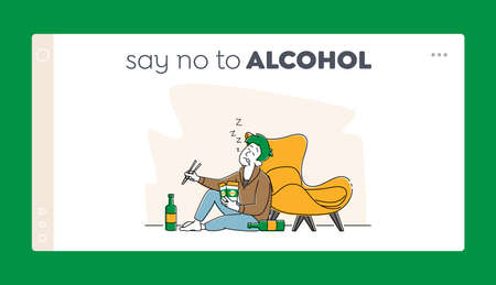 Man Alcoholic, Alcoholism Addiction Bad Habit Landing Page Template. Drunk Male Character with Wok Box Sleeping on Floor