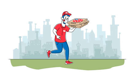 Pizzeria Courier Character Wearing Mask Delivering Pizza to Customers. Air Pollution Gas Emission in City, Food Delivery