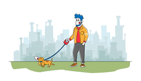 Man and Dog in Facial Masks Walking Outdoors in Polluted City or Coronavirus Pandemic. Male Character with Pet in Park Illusztráció