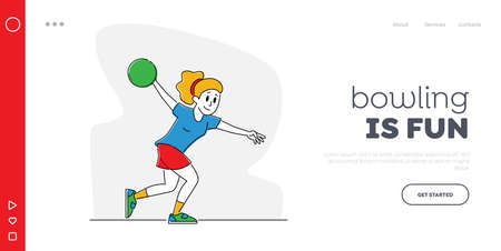Relaxed Sparetime Landing Page Template. Woman Spend Time in Bowling Club on Weekend, Female Character Playing Bowling